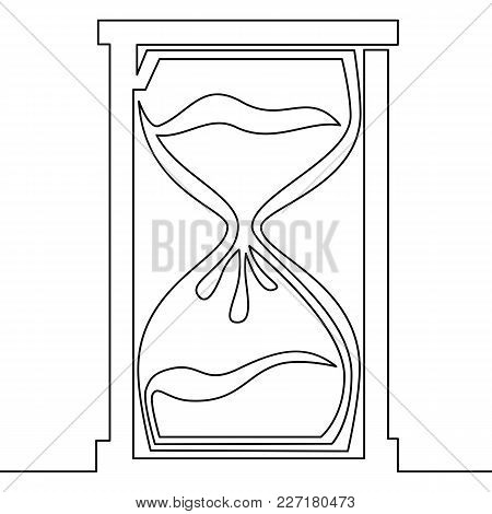 One Line Drawing Of Isolated Vector Illustration Concept Hourglass