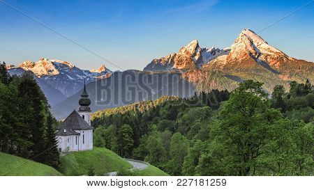 Panoramic Spring View Of Maria Gern Church In German National Park Berchtesgaden With Snow-capped Su