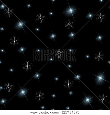 Realistic Seamless Vector Image Of The Night Sky With Stars And Galaxies. Star Seamless