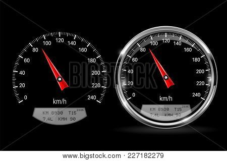 Speedometers. Round Black Gauge With And Without Chrome Frame. Vector 3d Illustration