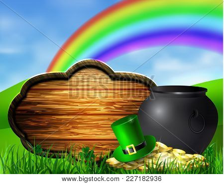 St. Patrick S Day Symbol Pot Gold Coins Leprechaun Hat And Rainbow With Wooden Board For Your Design