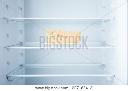 Piece of cheese in empty refrigerator