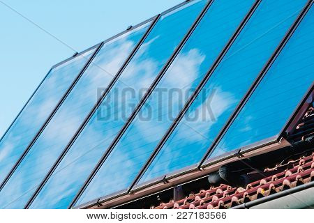Solar Panel On The Roof Of The House