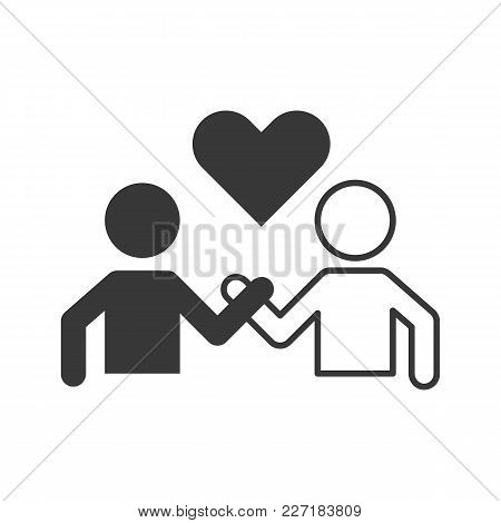 Pictogram Of People Holding Hand And Heart, Friendship, Lover, Unity, Harmony And Forgive Concept