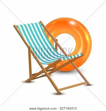 Travelling Tourism Holiday Time Illustration Sun Lounger, Orange Swim Ring On White Background, Para