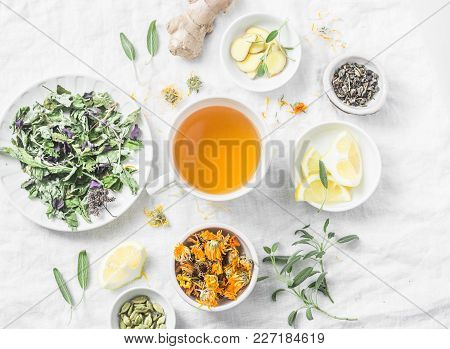 Flat Lay Liver Detox Antioxidant Tea And The Ingredients For It On A Light Background, Top View. Her