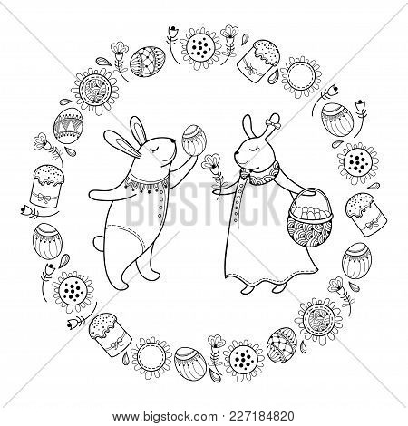 Vector Happy Easter Card With Outline Easter Rabbit Couple, Egg, Cake And Basket Isolated On White B