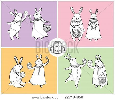 Vector Happy Easter Set With Outline Easter Rabbit Couple And Traditional Easter Symbol In Black Iso