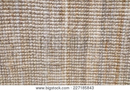 Background Pattern, Horizontal Texture Of Brown Weaving Fabric Doormat With Copy Space For Text Deco