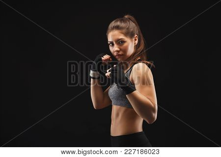 Gorgeous Young Woman With Boxing Bandage, Standing In The Defending Position, Ready To Fight, Copy S