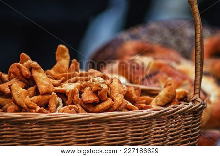Basket Full Of Fried Dough Sweets Placed Outdoors