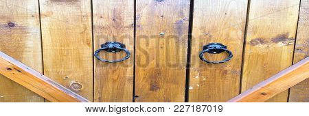 Wood Texture Background, Wood Door Planks. Old Washed Wood Door Pattern Top View. Close Up On Ancien