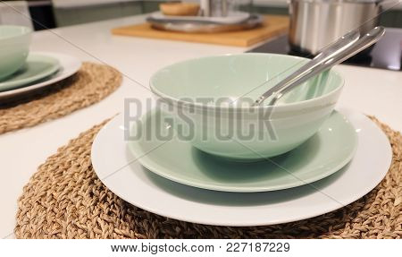 Kitchen Utensil, Collection Of Ceramic Plates, Bowls And Cutlery, Preparing For Special Dinner Or Lu
