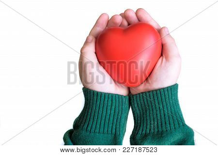 Baby Hold Red Color Heart In Child Hands, Love And Health Concept.