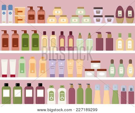 Shelves With Colorful Cosmetic Products In Plastic Bottles. Seamless Pattern. Flat Style Vector Illu