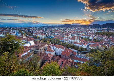 Panoramic Aerial View Of The Old Town Of Graz From Grazer Schlossberg (castle Hill) In Beautiful Gol
