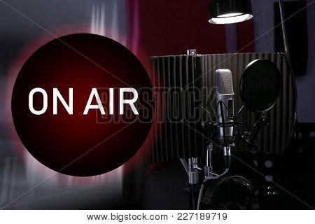 Microphone for live radio broadcast at modern studio