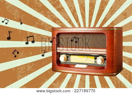Radio broadcasting music on color background