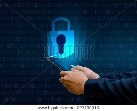 Unlocked smartphone lock Internet phone hand Businesspeople press the phone to communicate in the Internet. Cyber security concept hand protection network with lock icon and virtual screens Space put message Blue tone poster