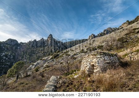 Derelict Stone Buiding In Mountains Near Venaco In Corsica