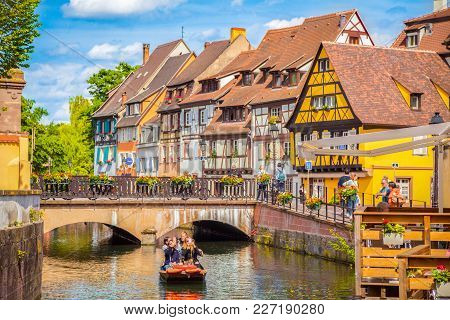 Beautiful View Of The Historic Town Of Colmar, Also Known As Little Venice, With Tourists Taking A B