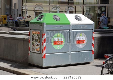 Vienna, Austria - July 11, 2015: Recycling Container For Sorting Waste Disposal In Vienna, Austria.