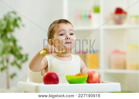 Funny Baby One Year Old Eating Healthy Food