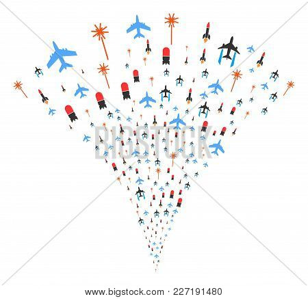 Aviation Attack Fireworks Fountain. Vector Illustration Style Is Flat Iconic Symbols. Object Fountai