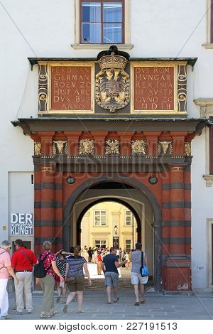 Vienna, Austria - July 11, 2015: Tourists At Hofburg Imperial Palace Entrance In Vienna, Austria.