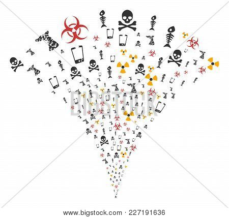Danger Trash Burst Fountain. Vector Illustration Style Is Flat Iconic Symbols. Object Fountain Organ