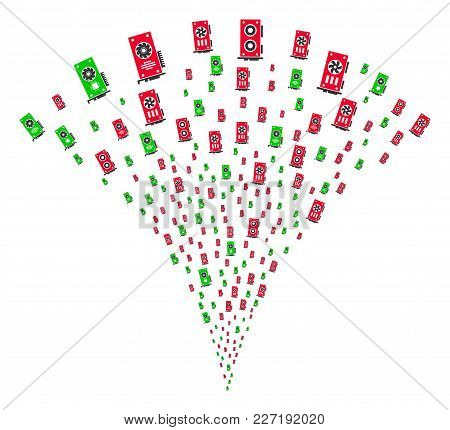 Video Card Gpu Festive Fountain. Vector Illustration Style Is Flat Iconic Symbols. Object Fountain O