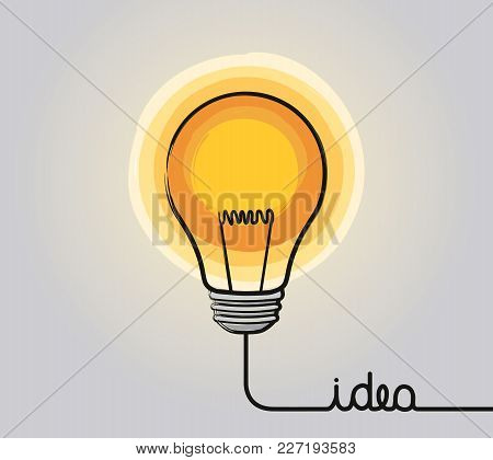 Glowing Light Bulb Icon. Hand Drawn Sign. Creative Idea And Innovation. Vector.
