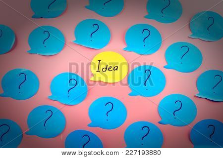 Unusual Background With Stickers And Vignettes. The Word Idea Written On An Orange Sticker, Among Th