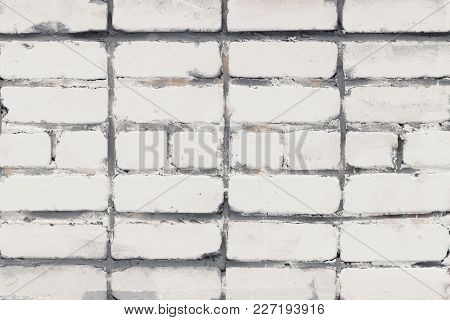 Empty Wall With A Place For Text. Beautiful Background Of White Brick.