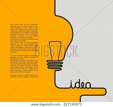 Idea Concept. Wire Forming A Lightbulb And Text Idea. Vector.