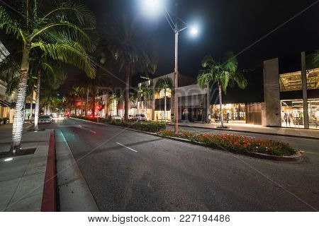 Palm Trees In Rodeo Drive At Night. Beverly Hills, California