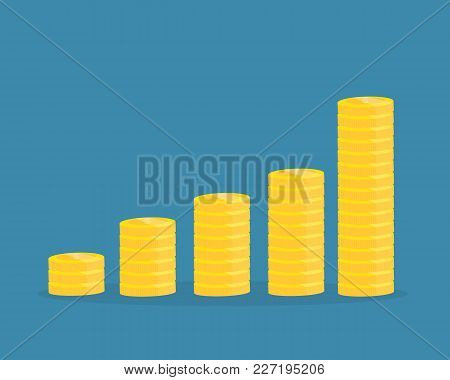 Piles Of Coins.financial Growth Up Concept .vector Design For Business.