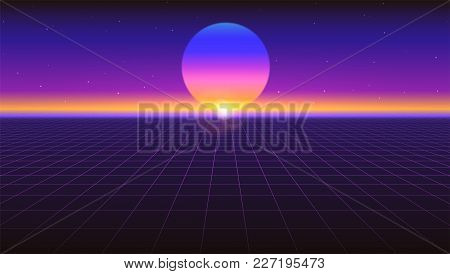 Sci Fi Futuristic Abstract Background. Violet Retro Gradient, Vintage Style Of The 80s. Virtual Surf