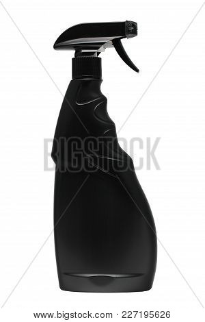 Black Plastic Bottle With Trigger-spray On A White Background