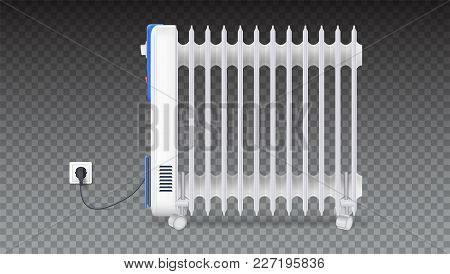 Oil Radiator Isolated On Horizontal Transparent Background. White, Electric Oil Filled Heater On Whe