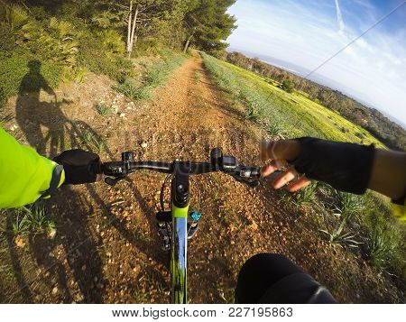 Mountain Bike On A Dirt Path In The Springtime