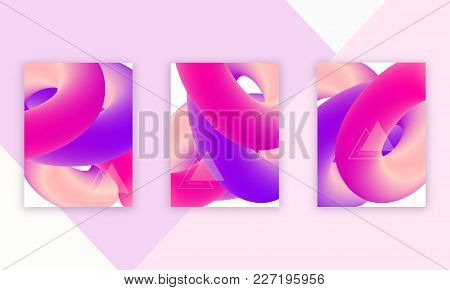Abstract Fluid Cover Design Set, Vector Illustration. Ultra Violet, Pink Fluid Round Shapes Isolated
