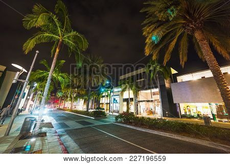 Rodeo Drive By Night. Beverly Hills, California