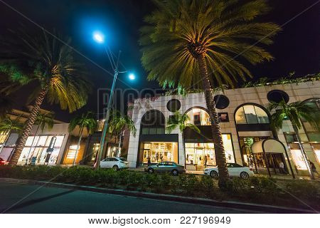Rodeo Drive On A Clear Night. Beverly Hills, California