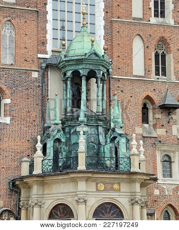 Detail Of Church Of Our Lady Assumed Into Heaven In Krakow Poland