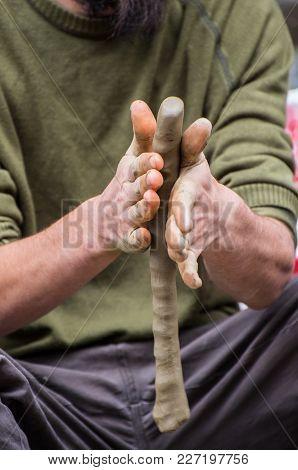 Master Crock. Man Hands Making Clay Jug.