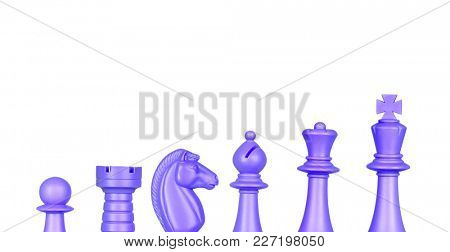 Chess blue figures isolated on a white background