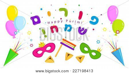 Jewish Holiday Of Purim, Banner With Balloons, Party Crackers And Masks, Traditional Hamantaschen Co