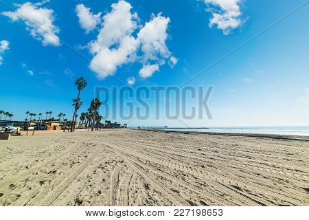 Clouds Over Oceanside Shore In California, Usa