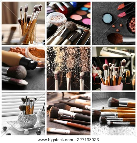 Makeup artist set with tools and cosmetic